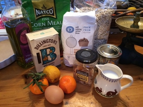 Selection of ingredients for gluten free sticky ginger oaty cake.